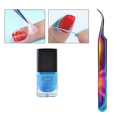 BORN PRETTY 6ml Peel Off Nail Latex Liquid Tape #2 with Colorful Curved Tweezer Nail Art Tool Set