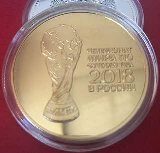 SJ Shop New Russian 2018 Football World Cup Commemorative Coin Souvenir Collection Coins (Golden)