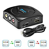 RCA to HDMI Converter, AV to HDMI, KUYIA 1080P Component Composite to HDMI Adapter Supporting PAL/NTSC PC TV STB Xbox Wii PS4 PS3 VHS VCR Camera Nintendo N64 with USB Charge Cable (Black)