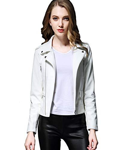 レッドレザージャケット レディース 合成皮革 ライダースジャケット (White, XL)