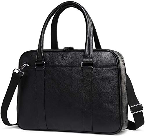 Laptop Bag for Men, Women, VASCHY PU Leather Water Resistant Business Briefcase 14 Inch Laptop Messenger Bag Shoulder Bag Classic Satchel for Work (Black)