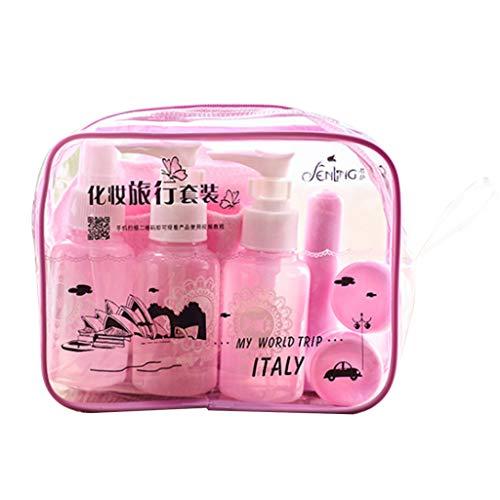 Dabixx Lot de 10 récipients de Maquillage Portables Rechargeables vides en Plastique Transparent pour cosmétiques, Miroir, Brosse à Dents – Rose