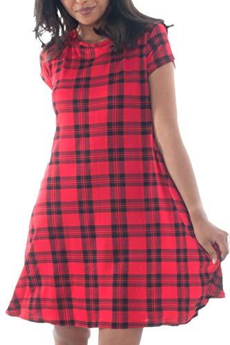 Effen T-shirtjurk voor dames - skater/swing jurk - midi-lengte/A-lijn/wijd uitlopend/soepel vallend - kapmouwtjes