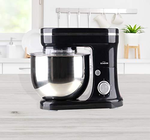 Küchenmaschine 1200W mit 5L Edelstahl-Rührschüssel, Rührbesen, Knethaken, Schlagbesen und Spritzschutz, 6 Geschwindigkeit Geräuscharm Teigmaschine Knetmaschine (Schwarz)