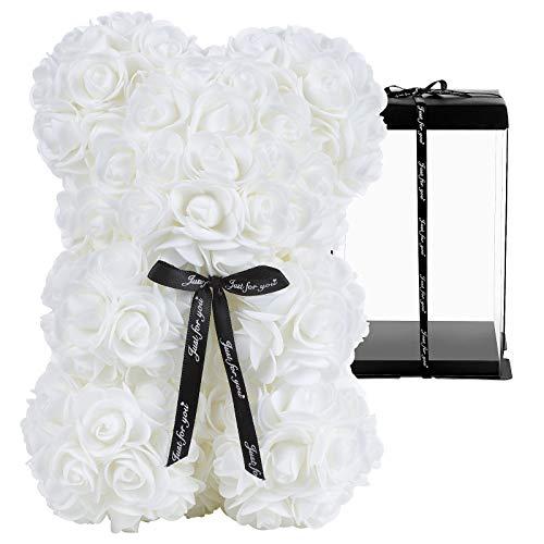 Ours en Rose, GuKKK Ours en Peluche Rose, Décoration en Forme d'Ours en Fleurs Artificielles Faites à la Main, pour Un Anniversaire, Valentin, Un Anniversaire(25cm) (Blanc)