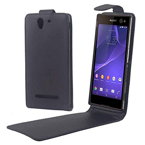 HAIJUN Mobile Phone Cover Case Vertical Flip Magnetic Button Leather Case for Sony Xperia C3 / D2533