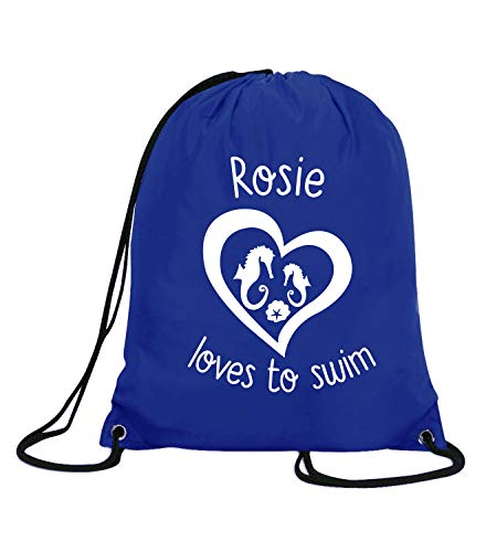 Absolutely Top - Bolsa con Cuerdas para Nadar, diseño de Caballito de mar, Color Impresión Azul Real/Blanco, tamaño Talla única