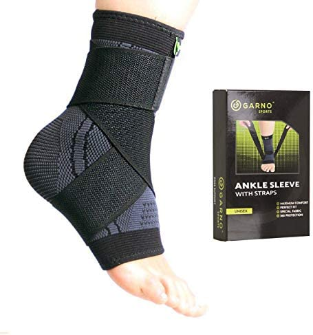 GARNO Ankle Compression Sleeve with Adjustable Straps Arch Support Brace Foot Stabilizer Elastic product image