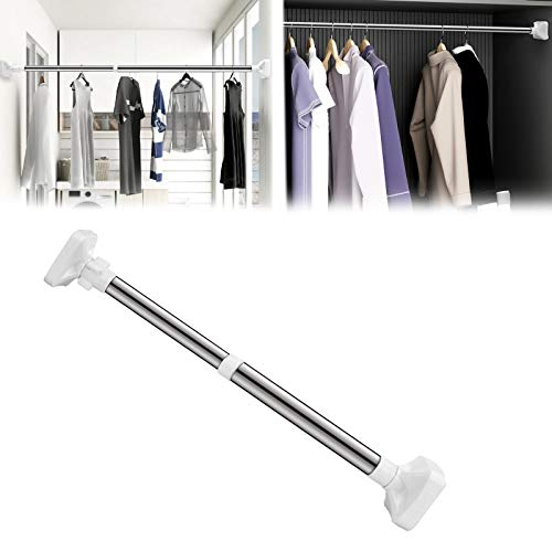 No Drill Extendable Telescopic Shower Curtain Tension Rod Alumin for Window Kitchen Shower Bathroom Doorway Or Wardrobe Bedroom Cupboard Locker Room (50-80cm)