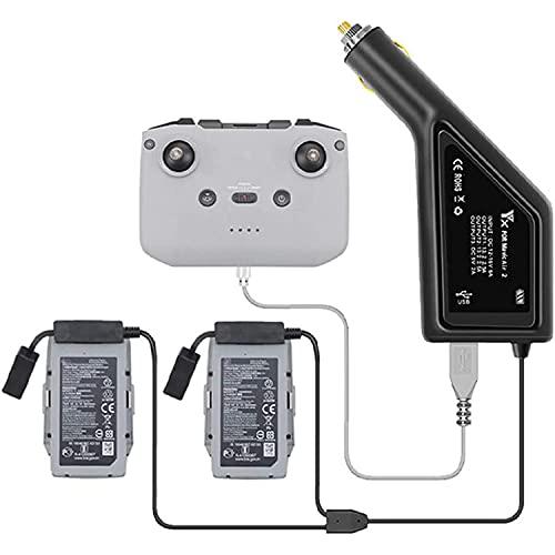 Flycoo2 Auto Caricabatteria con Copertura Antipolvere per DJI Air 2S, Mavic Air 2 Drone e Telecomando, 3 in 1 (USB + 2 x Batteria) Multipla Portatile Hub di Ricarica Rapida Accessori