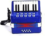 Niños Acordeones niños acordeón musical del juguete for mayores de 6 Principiante respetuosa del medio ambiente de la música Colección 17 teclas del acordeón Desarrollo Infantil (Color: azul, tamaño: