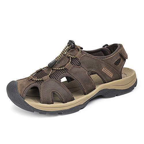 Yamyannie-MS Sandalias de Verano para Hombre, Zapatos de Playa de Verano Cerrado Toe Hook & Loop Correa Caminando Zapatilla Zapatilla Antideslizante Sandalias Exteriores de Cuero para Hombres