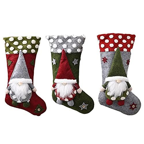 Atroy - 3 calze di Natale grandi da 47 cm, con gnomo 3D, per camino, per la famiglia, Natale, vacanze, negozi, finestre, decorazione