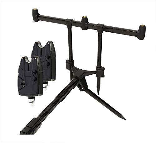 g8ds® Set Rod Pod Rutenhalter + Tragetasche inklusive 2 Bissanzeiger mit Ton- und Lautstärkeregler für 9V Block Karpfen Angeln