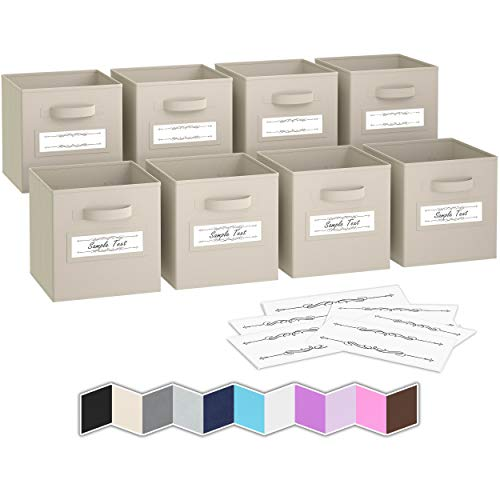Royexe - Storage Cubes - (Set of 8) Storage Baskets | Features Dual Handles & 10 Label Window Cards | Cube Storage Bins | Foldable Fabric Closet Shelf Organizer | Drawer Organizers and Storage (Beige)
