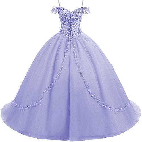 HUINI Ballkleider Lang Vintage Brautkleid Hochzeitskleid Damen Prinzessin A-Linie Abendkleid Quinceanera Kleider Lavendel 46