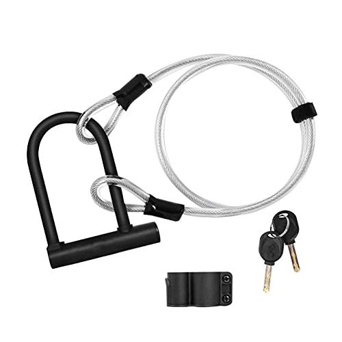 DSFSAEG Cerradura para bicicleta en U, cerradura antirrobo para puertas de tienda, resistente con cable flexible para motocicleta, universal, duradero, en forma de U para bicicleta