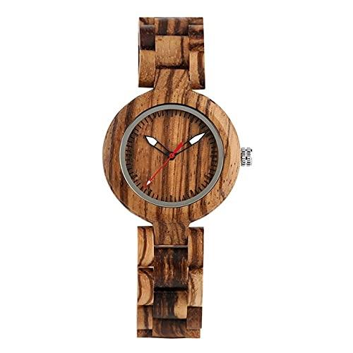 KUELXV Reloj de Pulsera de Madera Relojes para Mujer, sándalo Rojo, Marca Superior de Lujo, Reloj de Madera pequeño para Mujer, Reloj Minimalista para Mujer, Banda de Madera, 6