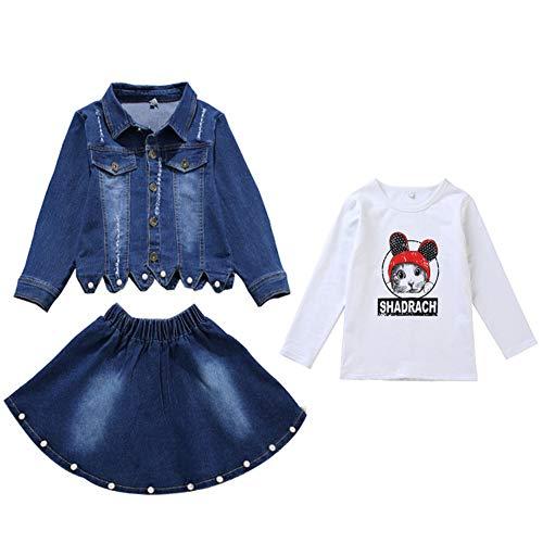 L PATTERN Kinder Mädchen 2tlg Jeans Anzug Bekleidungsset Zweiteiler Freizeitanzug Outfit-Set(Jeansjacke+Jeansrock), 146-152