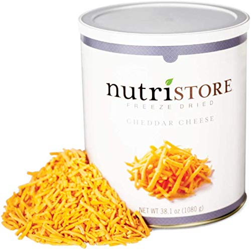 Nutristore Freeze-Dried Cheddar Cheese Shredded | Amazing Taste & Quality | Perfect for Snacking, Backpacking, Camping, or Home Meals | Emergency Survival Food Storage | 25 Year Shelf-Life (1-Pack)