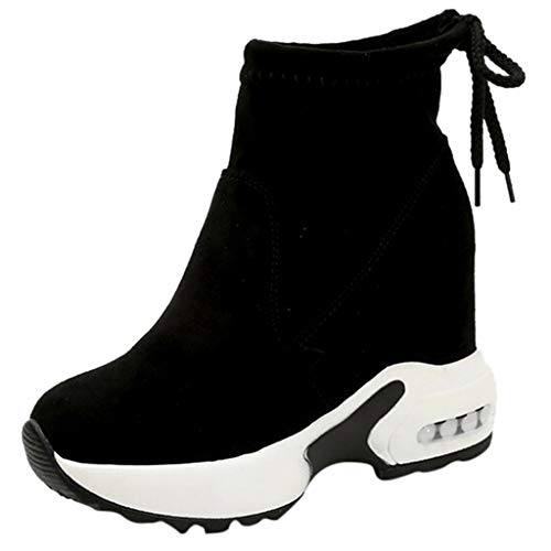 Find Bargain Women's Platform Slip On Booties Fashion Casual Chunky Wedges Sneakers Elastic Ankle Boots Sports Boots Shoes Black