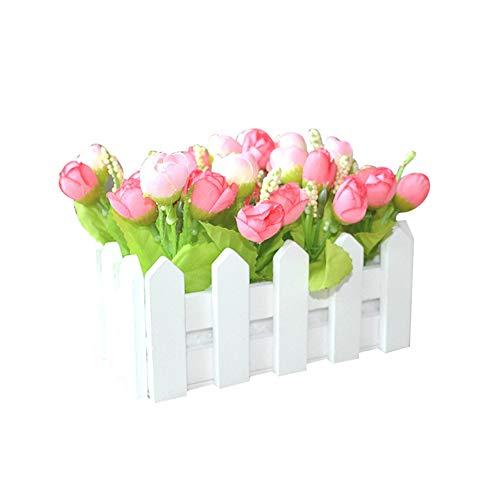 display08 1 ensemble de clôture en bois blanc pour décoration de maison, jardin, porche rose