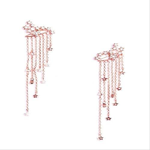 Sieraden voor vrouwenBoheemse legering kwast oorbellen met ster hanger goud zilver kleur Lange oorbellen fijne sieraden cadeau vrouwenRose goud