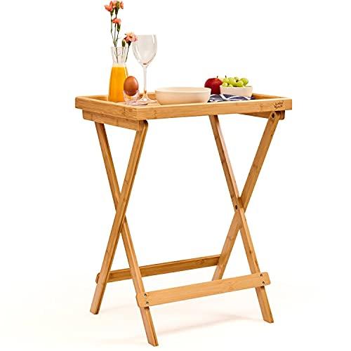 bambuswald Tavolino per la Colazione, Tavolo Pieghevole, 100% Bambù, Vassoio, Tavolo da Giardino, da Balcone, Tavolo di Servizio