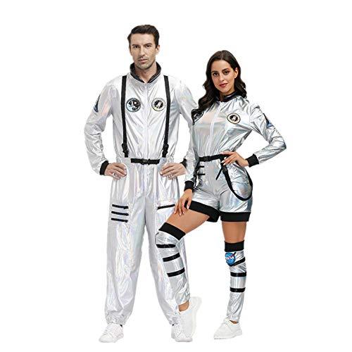 BVBVBV Conjuntos de lencería para Mujer Ropa de Dormir para Mujer Uniforme de Pareja de astronautas espaciales Disfraz de piloto de Fiesta de Halloween para Hombre XL