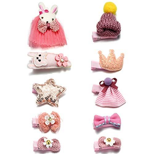 Onnea 10 Stück Haarspangen für Mädchen Rosa Haarklammer (Kaninchen-Katzen-Hut)