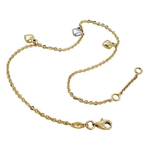 Gallay Fußkette, Anker mit 3 Herzen, 9Kt GOLD 25cm, Länge: 25cm, Gewicht: 2,2g, Legierung: 375 KB, Größe: 1,7mm