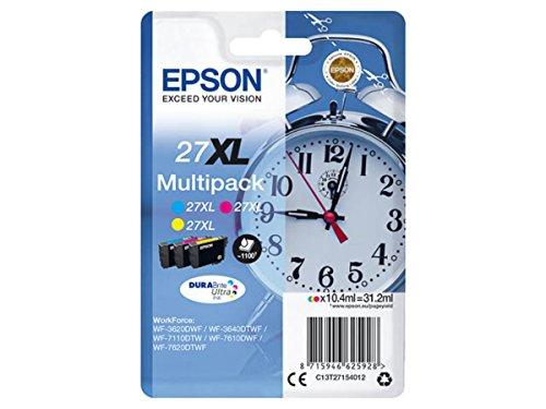Epson original - Epson Workforce WF-3620 WF (27XL / C13T27154012) - 3 x Tintenpatrone Multipack (Cyan, Magenta, gelb)