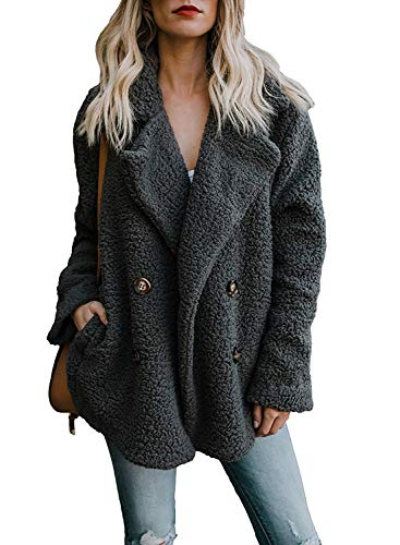 Yidarton Womens Winter Teddy Bear Coat Ladies Fuzzy Fleece Lapel Long Sleeve Outwear Jacket Cardigan (Black, Medium)