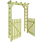Festnight Garden Arch with Gate Impregnated Wood Archway for Climbing Plants Ornament 150 x 50 x 200 cm