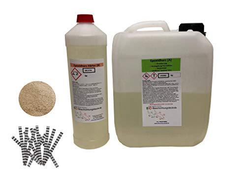 Gießharz + Estrichklammern + Quarzsand Epoxidharz Farblos Giessharz, Estrich reparieren, 2K Vergussmasse, Risse im Estrich verharzen (3kg Harz + 2kg Sand + 60 Klammern)