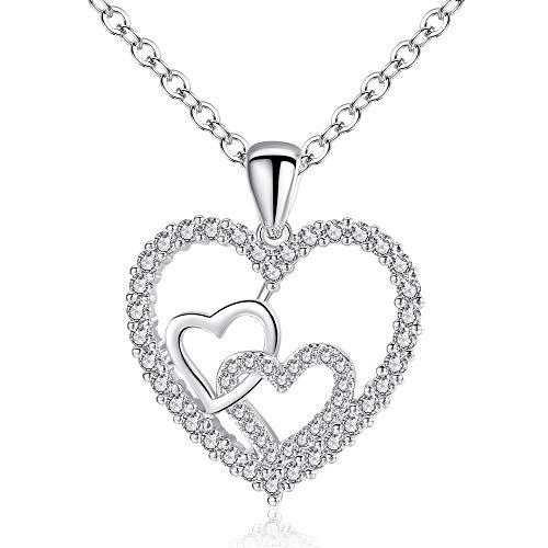 Collana da donna, collana con pendente a doppio cuore, collana con cuore lucido, confezione raffinata, regalo di San Valentino / festa / anniversario / compleanno