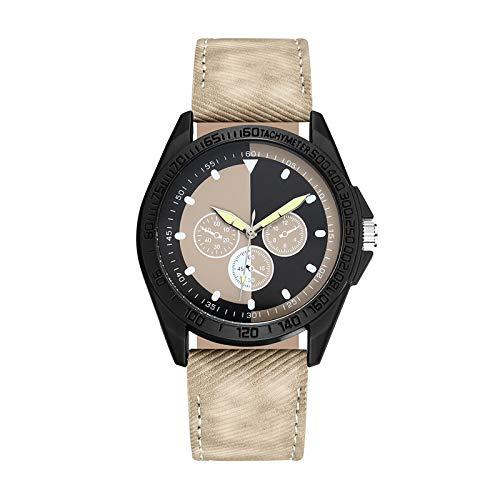 JZDH Relojes para Mujer Mira Las Mujeres Tres Ojos Relojes Digitales Relojes de Negocios subdiales Relojes Decorativos Casuales para Niñas Damas (Color : Beige)