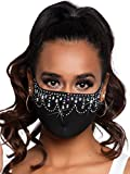 Leg Avenue Women's Rhinestone Fashionable Face Mask, Priya Black, One Size US