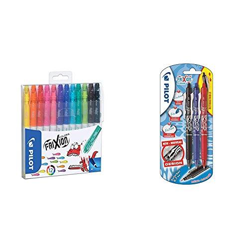 Pilot Frixion - Pack de 12 rotuladores, Multicolor + Clicker - Bolígrafo roller de gel de tinta borrable (3 unidades), color negro, rojo y azul