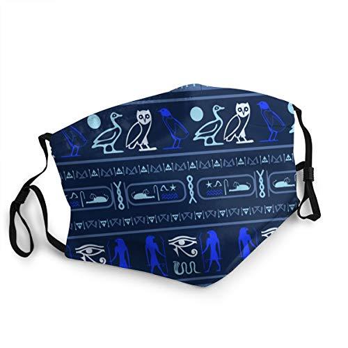 Waschbarer Mundschutz Anti-Staub-Gesichtsschutz,Antikes Ägypten, das Hieroglyphen-ägyptische Sprachsymbole schreibt Ethnisches Modem,Wiederverwendbar winddicht für Outdoor-Ski Radfahren Camping Laufen