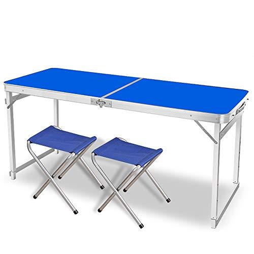 JCCOZ -T Mesa plegable para camping, altura ajustable, mesa de picnic portátil con 2 sillas con altura ajustable, mesa plegable para exteriores, camping, barbacoas en T (color: azul)