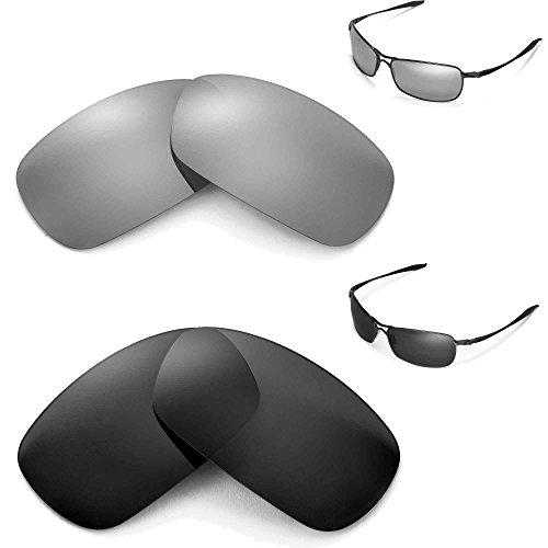Walleva Polarisierte schwarze und Titan-Gläser für Oakley Crosshair 2.0 (Version 2010).