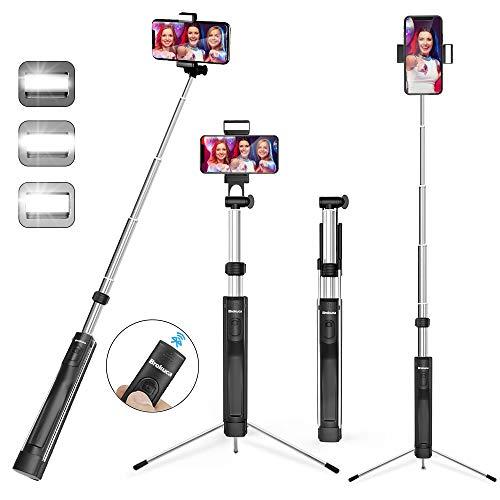 Brokuca Selfie Stick treppiede, 160 cm, monopiede Estensibile con Telecomando Bluetooth e Luce per Selfie, Compatibile con iPhone XS max/XS/XR/X/8/8 Plus/7/7 Plus/6s, Galaxy S10/S9/8 e Altri
