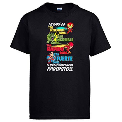 Diver Camisetas Camiseta papá tu Eres mi superhéroe Favorito - Negro, L