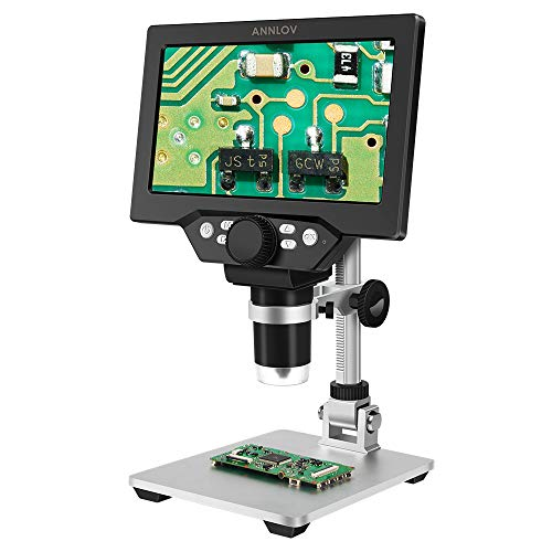 7 inch LCD Digital Microscope ANNLOV 1-1200X USB Maginfication 12MP Handheld Electronic Coin Microscope Camera with 8 Adjustable LED Lights for Adults PCB Soldering Kids Outside Use