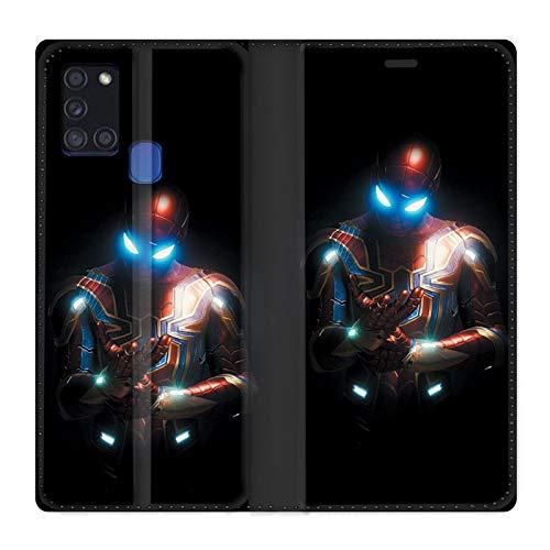 Schutzhülle aus Leder für Samsung Galaxy A21S, Motiv: Spiderman Armure