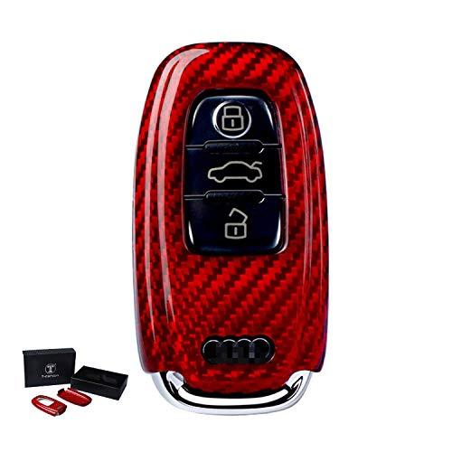Kwak's Autoschlüssel Abdeckung Fall Halter Glasfaser 3 Taste Car Key Hülle Kompatibel für Audi A4L A5 A6L A7 A8L Q5(rot)