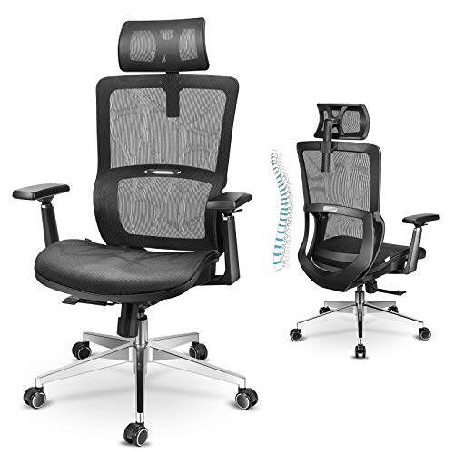 MFAVOUR Bürostuhl, Bürostuhl Ergonomisch, Ergonomischer Bürostuhl, Schreibtischstuhl mit 3D Armlehnen, Verstellbarer Lordosenstütze, Kopfstütze und Atmungsaktives Netzstoff, Bürostuhl bis 150 kg