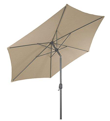 Spetebo Alu Sonnenschirm 250 cm mit Knickgelenk + Kurbel - beige - Martktschirm Kurbelschirm
