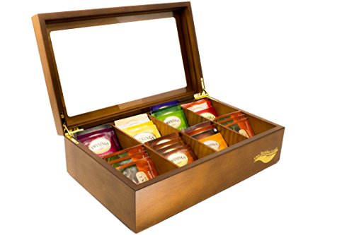 Review The Bamboo Leaf Wooden Tea Storage Chest Box with 8 Compartments and Glass Window (Walnut)